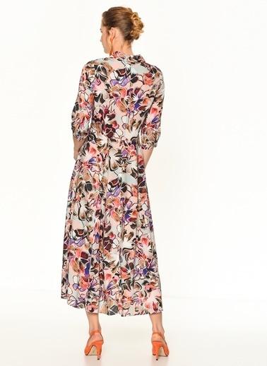 Random Çiçek Desenli Uzun Gömlek Elbise Somon